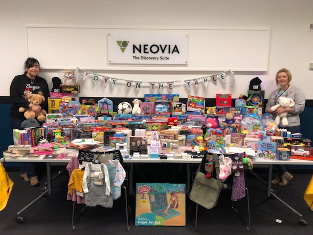 Some of the 350 toys and gifts collected by NEOVIA LOGISTICS for 2018